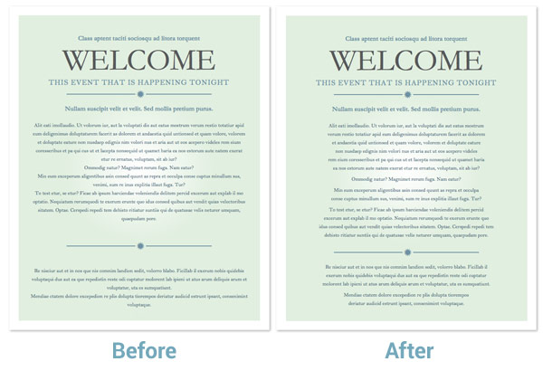centered text before-after